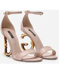 Dolce & Gabbana Sandale Aus Nappaleder Mit Dg-Barockabsatz - Pink