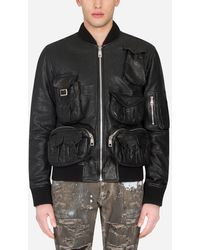 Dolce & Gabbana Leather Coat With Multiple Pockets - Black