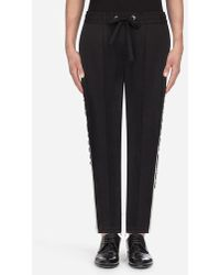 Dolce & Gabbana - Stretch Cotton JOGGING Trousers With Contrasting Bands - Lyst