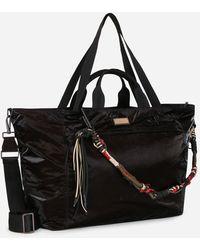 Dolce & Gabbana Nero Sicilia Dna Nylon Travel Bag With Branded Tag - Black