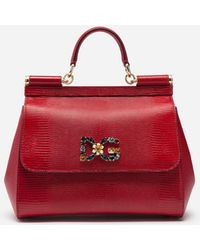 Dolce   Gabbana - Medium Sicily Bag In Iguana Print Calfskin With Dg Logo  Crystalsâ - 5225144780b08