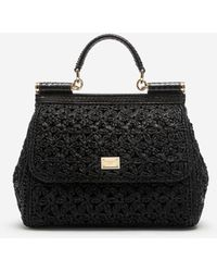 Dolce & Gabbana Medium Raffia Crochet Sicily Bag - Nero