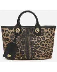 Dolce & Gabbana Small Capri Shopping Bag In Jacquard Raffia With Leopard Print - Multicolour