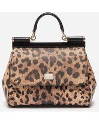 Dolce & Gabbana Mittelgrosse Tasche Sicily Aus Kunstleder Mit Leoparden-Print - Mehrfarbig