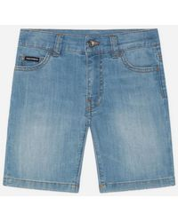 Dolce & Gabbana Stretch Denim Bermuda Trousers In Washed Baby Blue Colour