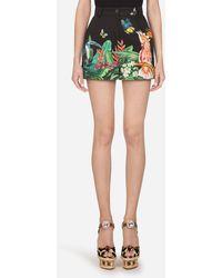 Dolce & Gabbana Shorts Aus Drill Tropischer Jungle-Print - Mehrfarbig