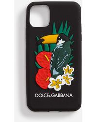 Dolce & Gabbana Iphone 11 Pro Case In Rubber With Toucan Print - Black