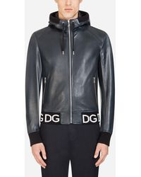 Dolce & Gabbana Leather Jacket With Hood And Logo Band - Blue
