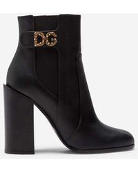 Dolce & Gabbana Calfskin Nappa Ankle Boots With Dg Logo - Negro