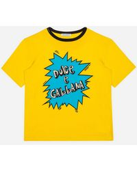 Dolce & Gabbana Jersey T-shirt With Dg Lightning Bolt Print - Yellow