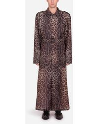Dolce & Gabbana Single-breasted Trench Jacket In Nylon With Leopard Print - Multicolor