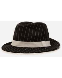 Dolce & Gabbana Pinstripe Woolen Fabric Fedora Hat - Schwarz