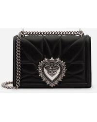 Dolce & Gabbana Medium Devotion Crossbody Bag In Quilted Nappa Leather - Schwarz