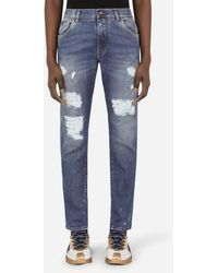 Dolce & Gabbana Washed Light Blue Slim-Fit Stretch Jeans With Rips - Blau
