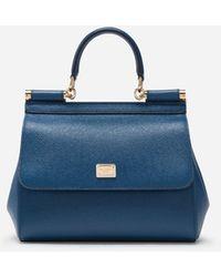Dolce & Gabbana Kleine Sicily Tasche Aus Dauphine-Leder - Blau