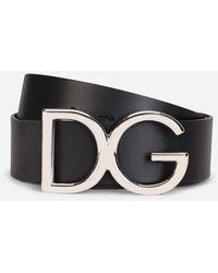 Dolce & Gabbana Leather Belt With Dg Logo - Schwarz