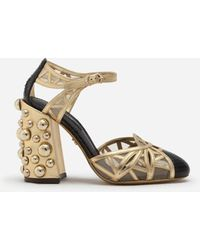 Dolce & Gabbana Mixed Material Ankle Strap Shoes With Pearl Embroidery - Métallisé