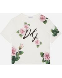 Dolce & Gabbana Jersey T-shirt With Tropical Rose Print - White