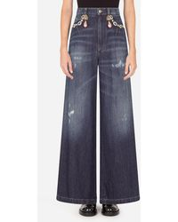 Dolce & Gabbana High-Waisted Dolce Jeans With Decorative Details - Blau