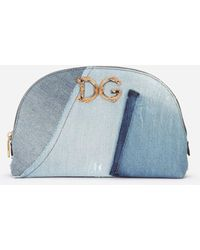 Dolce & Gabbana Patchwork Denim Make-up Bag With Baroque Dg Logo - Blue