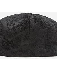 Dolce & Gabbana Jacquard Flat Cap With Large Flowers - Schwarz