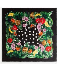 Dolce & Gabbana Twill Foulard With Polka-dot And Fruit Print: 70 X 70cm- 27.5 X 27.5 Inches - Green