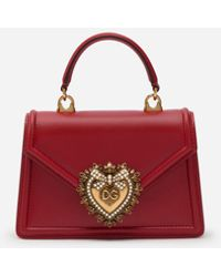 Dolce & Gabbana Kleine Devotion Tasche Aus Glattem Kalbsleder - Rot