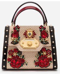 d706e94d3e Dolce   Gabbana - Medium Welcome Bag In Woven Raffia And Appliqués - Lyst
