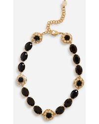 Dolce & Gabbana Short Rhinestone Necklace With Decorative Details - Metallic