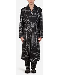 Dolce & Gabbana Silk Robe With All-over Dg Logo Print - Black