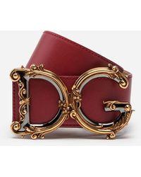 Dolce & Gabbana Calfskin Belt With Logo - Red