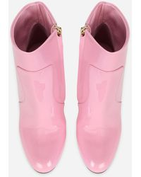 Dolce & Gabbana Patent Leather Ankle Boots With Dg Karol Heel - Pink