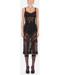 Dolce & Gabbana Sheath Dress With Bead Appliqués - Negro