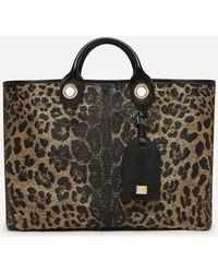Dolce & Gabbana Large Capri Shopping Bag In Jacquard Raffia With Leopard Print - Multicolor