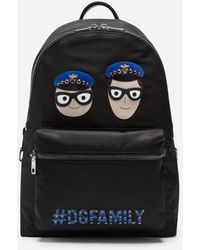 Dolce & Gabbana Vulcano Backpack In Nylon With Designers' Patches - Black