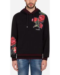 Dolce & Gabbana - Cotton Sweatshirt With Patches And Hood - Lyst