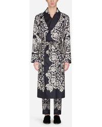 Dolce & Gabbana Morgenmantel Aus Seide Mit Print - Schwarz