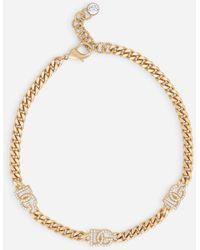 Dolce & Gabbana Link Choker With Rhinestones And Dg Logo - Metallic