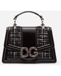 Dolce & Gabbana Dg Amore Bag In Polished Calfskin And Tweed - Noir