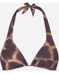 Dolce & Gabbana Wattiertes Triangel-Bikinitop Giraffen-Print - Mehrfarbig