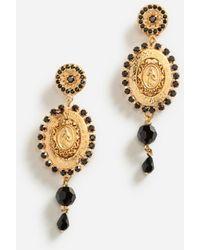 Dolce & Gabbana Drop Earrings With Decorative Details - Mettallic