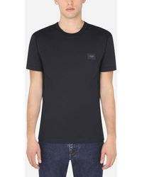 Dolce & Gabbana Cotton T-Shirt With Logoed Plaque - Azul