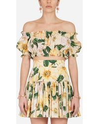Dolce & Gabbana Camellia-Print Poplin Crop Top - Multicolor