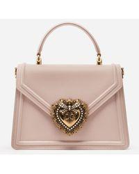 Dolce & Gabbana Medium Devotion Bag In Smooth Calfskin - Pink