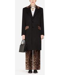Dolce & Gabbana Mixed Cashmere Coat With Leopard Print Detail - Schwarz