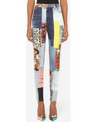 Dolce & Gabbana High-waisted Patchwork Jacquard And Denim Jeans - Blue