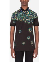 Dolce & Gabbana Cotton Piqué Polo Shirt With Feather Print - Multicolore