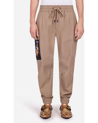 Dolce & Gabbana Cotton Stretch Cargo Trousers With Patch - Brown