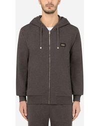 Dolce & Gabbana Cotton Jersey Hoodie - Gray