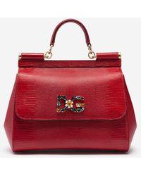 Dolce & Gabbana Medium Sicily Bag In Iguana Print Calfskin With Dg Logo Crystals - Rosso